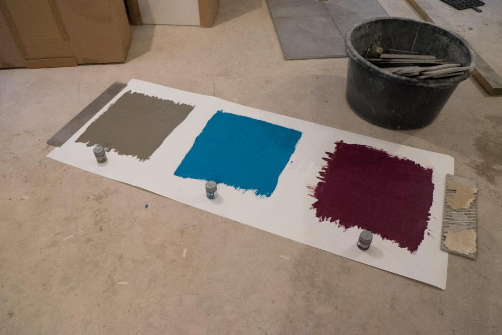 Testtafel: Manhatten (grau) - Lagune (blau) - Lounge (violett)