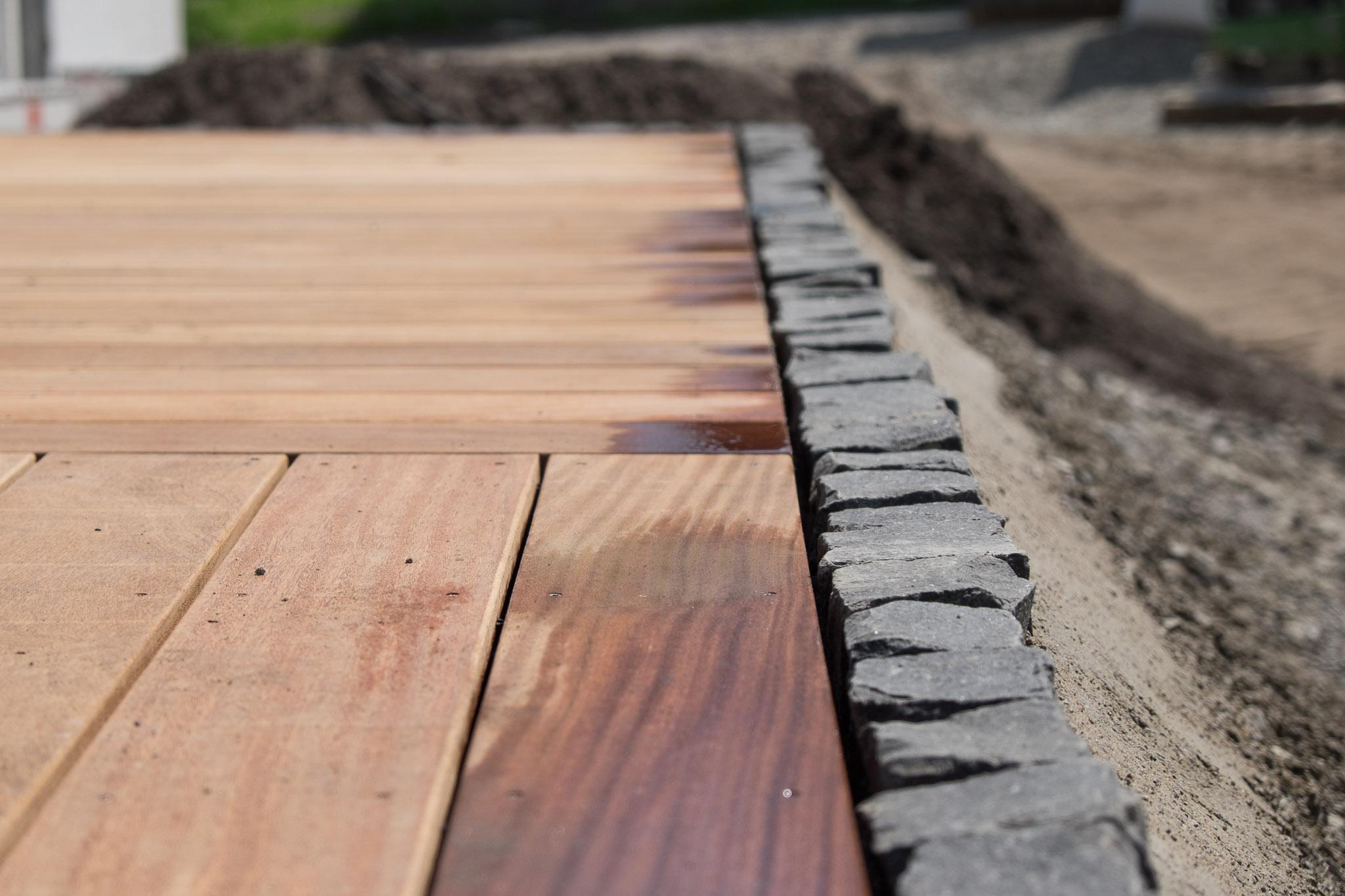 terrasseneinfassung mit pflastersteinen – ein haus für den zwerg